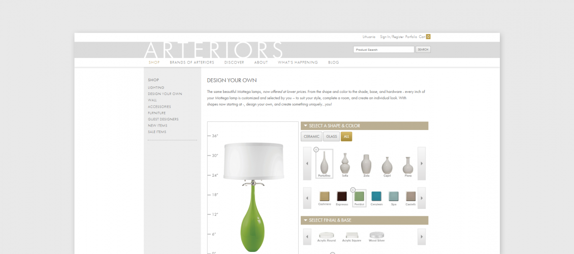 arteriors lamp customizer platform