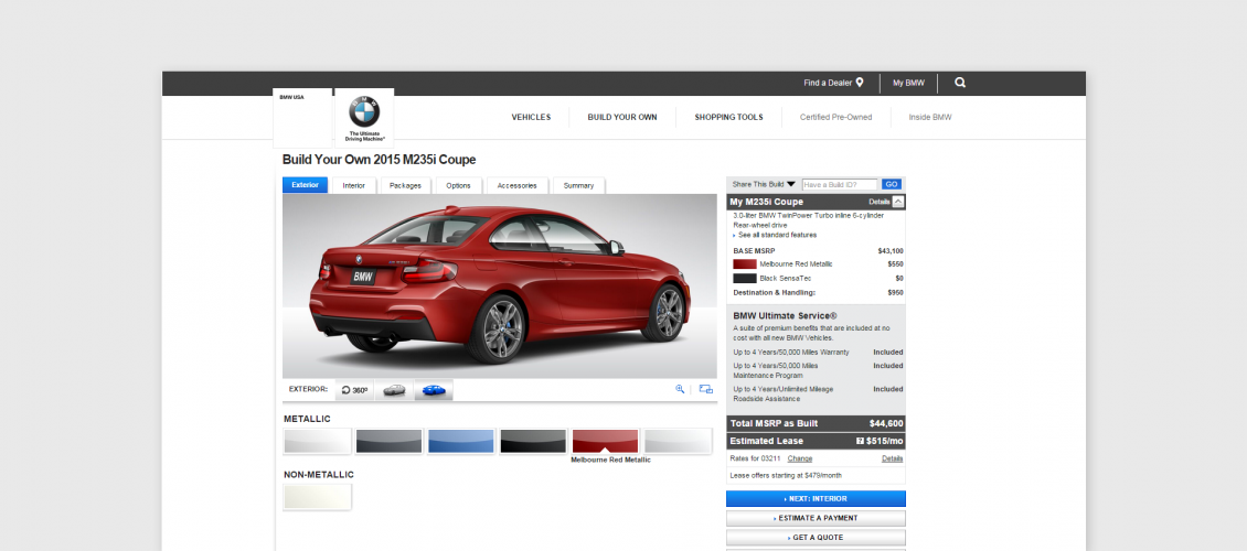 bmw car visual configurator