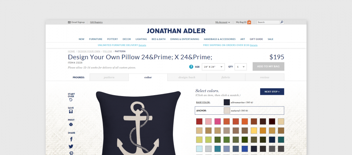 johnatan adler pillow configurator