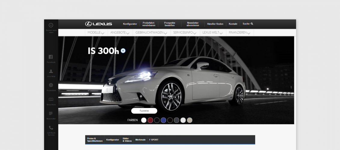 Smart customizer > Inspirations > Lexus car online configurator