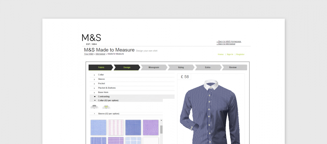 marcs and spencer shirts configurator