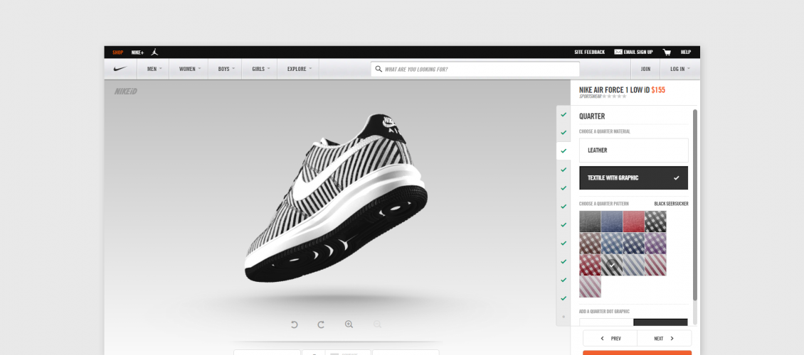 nike shoes visual customizer