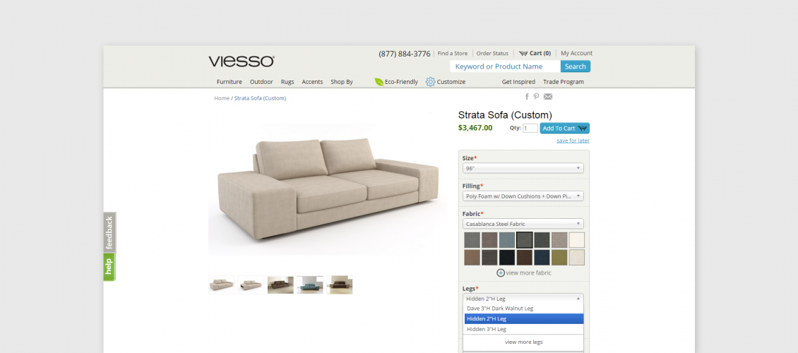 viesso couch customizer saas